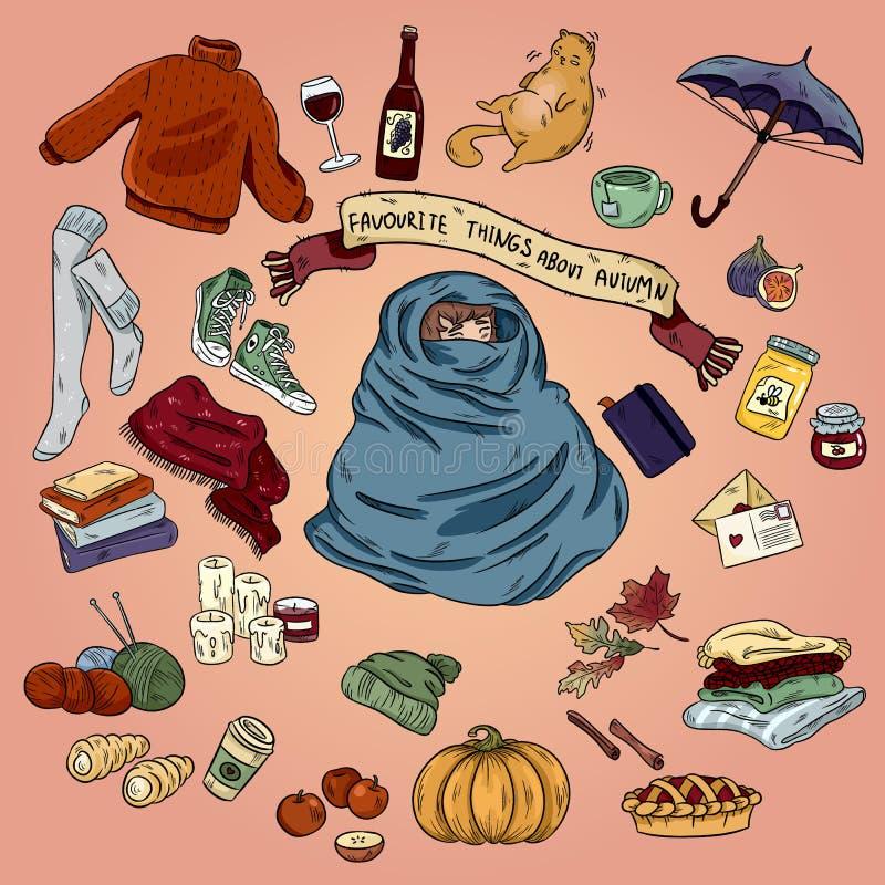 Sistema exhausto de la historieta del garabato de la mano colorida de objetos y de símbolos del otoño Humor de octubre stock de ilustración