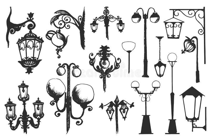 Sistema exhausto de la linterna de la calle de la ciudad del garabato de la mano Ejemplo del vector de la tinta stock de ilustración