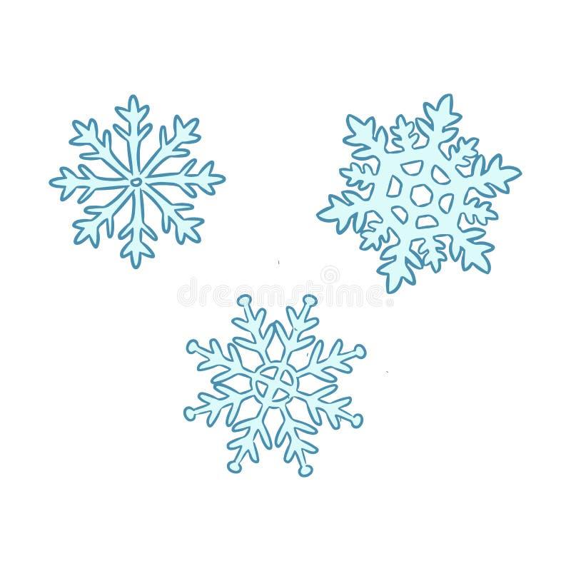 Sistema exhausto de la mano de copos de nieve azules lindos stock de ilustración