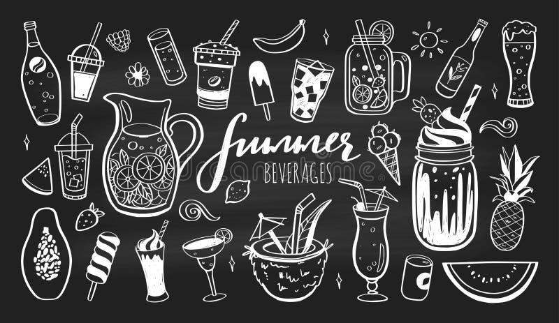 Sistema exhausto de la mano del vector de bebidas, de c?cteles del verano y de bebidas fr?os con las frutas Diversos garabatos pa libre illustration