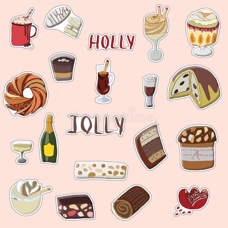 Sistema exhausto de la mano de Holly Jolly de etiquetas engomadas festivas stock de ilustración