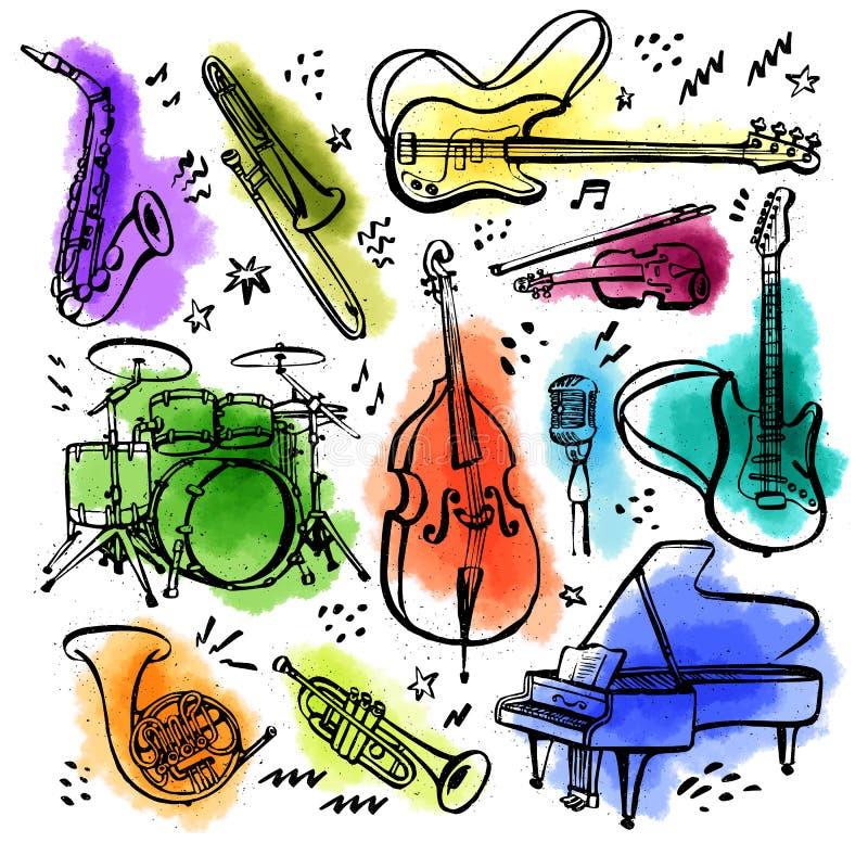 Sistema exhausto de la mano de instrumentos de música Ejemplo del vector del estilo de la tinta con las manchas de la acuarela en libre illustration