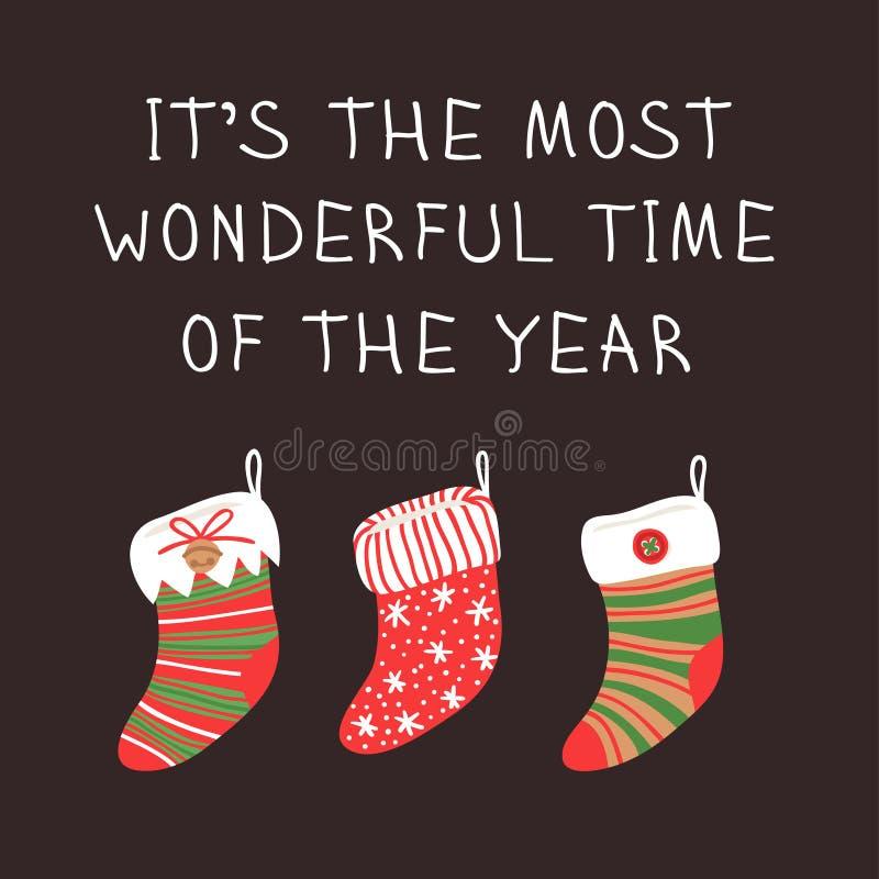 Sistema exhausto de la mano de los calcetines acogedores de la Navidad para los regalos en backgro oscuro ilustración del vector