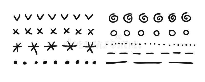 Sistema exhausto de la mano de los objetos para el uso del diseño El garabato negro del vector líneas de puntos en el fondo blanc stock de ilustración