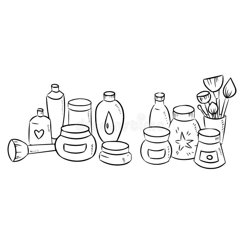 Sistema exhausto de la mano de la silueta cosmética de la botella en el fondo blanco stock de ilustración