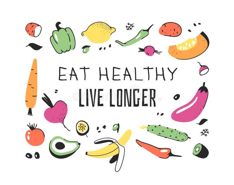 Sistema exhausto de la mano de verduras, de frutas y de palabras amistosas del eco Comida de dibujo del garabato art?stico del ve libre illustration