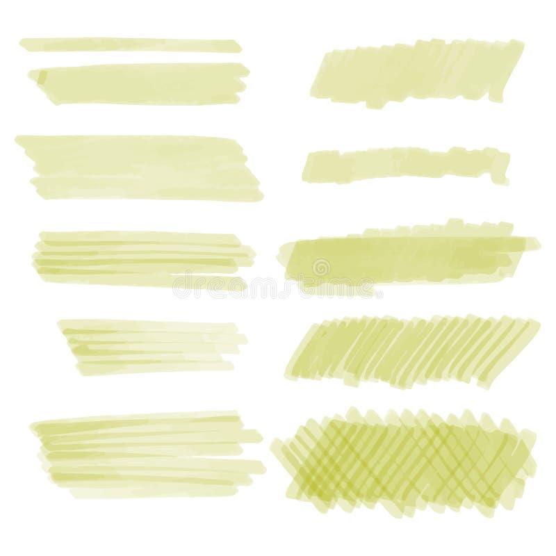 Sistema exhausto de la textura del marcador de la mano, diversas formas libre illustration