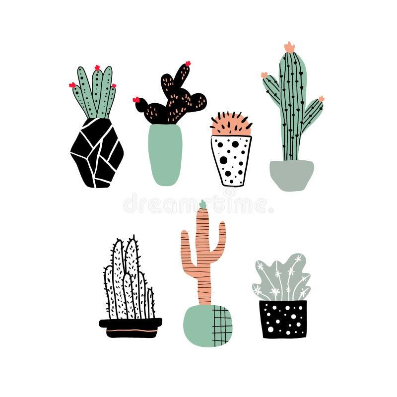 Sistema exhausto de los cactus de la mano Cactus lindo de la historieta en el estilo escandinavo de los potes, ejemplo infantil d libre illustration