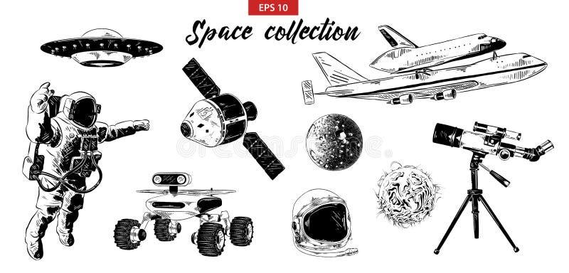 Sistema exhausto del bosquejo de la mano de elementos del espacio aislados en el fondo blanco ilustración del vector