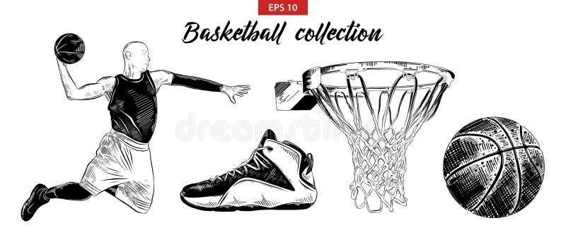 Sistema exhausto del bosquejo de la mano del jugador de básquet, del zapato, de la bola y de la cesta aislados en el fondo blanco libre illustration