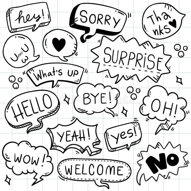 Sistema exhausto del fondo de la mano de texto lindo del eith de la burbuja del discurso en estilo del garabato libre illustration