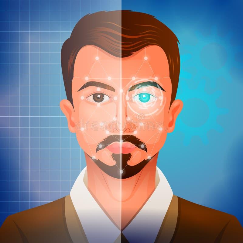 Sistema facial de Recogination para a exploração da cara e a autenticação da identificação ilustração royalty free