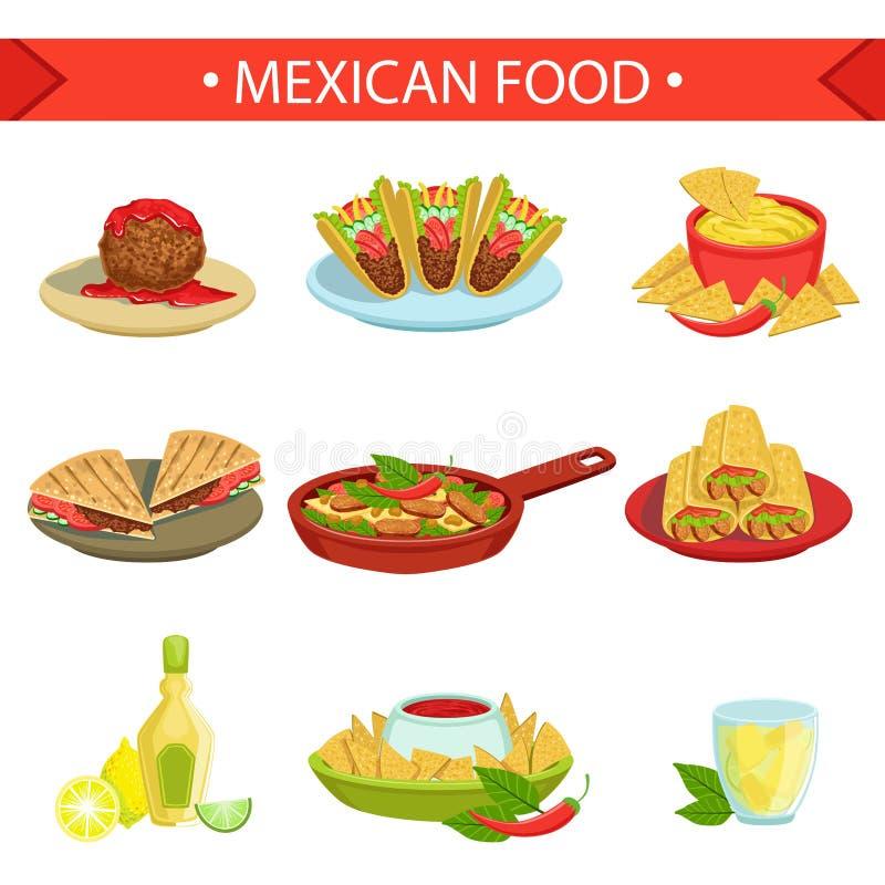 Sistema famoso del ejemplo de los platos de la comida mexicana stock de ilustración