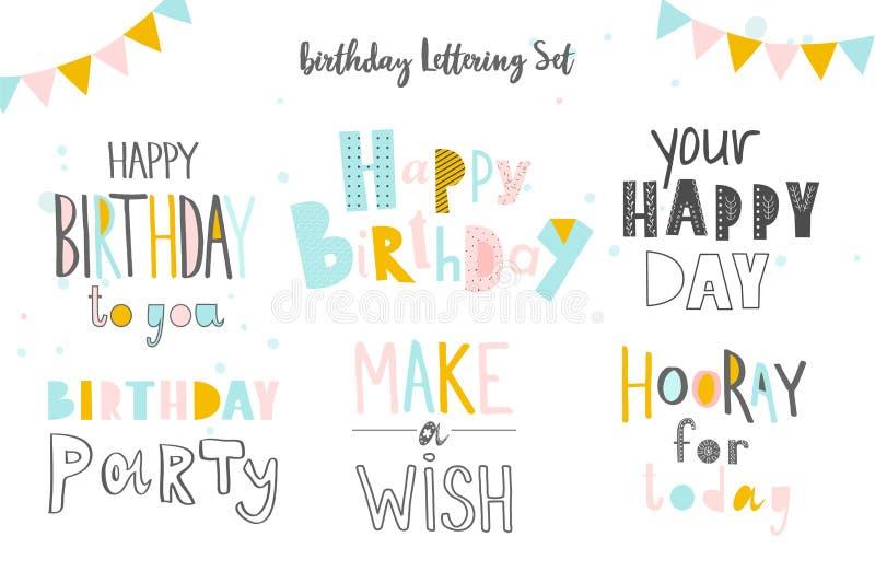 Sistema feliz cumpleaños de inscripciones Letras dibujadas mano en el fondo blanco Elementos aislados para la tarjeta de felicita libre illustration