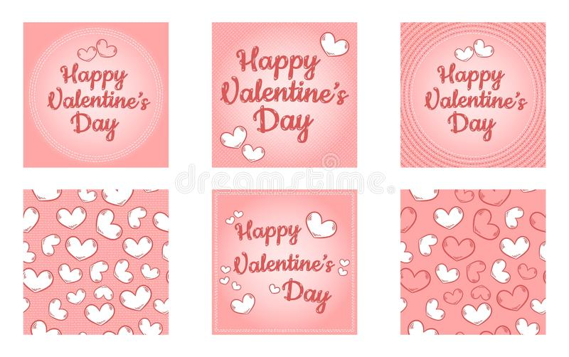 Sistema feliz de d?a de San Valent?n de plantillas Plantillas coloridas de la historieta retra linda con los corazones y las punt libre illustration