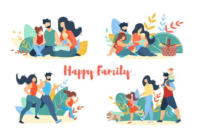 Sistema feliz de la bandera del verano de la familia Comida campestre, caminando libre illustration