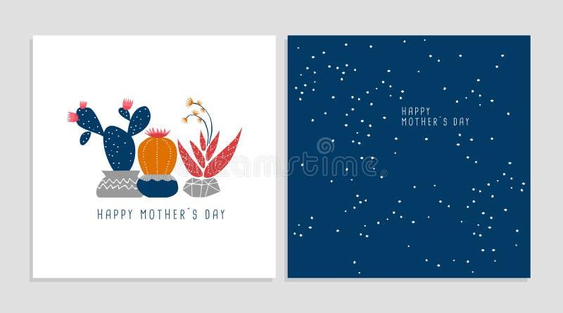 Sistema feliz de la tarjeta de felicitación de la planta del cactus del día de la madre ilustración del vector