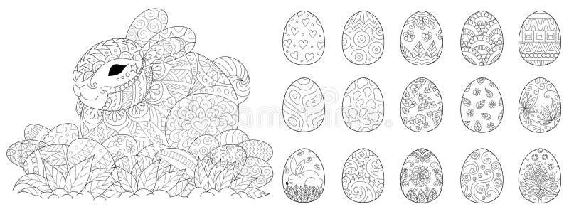 Sistema feliz de Pascua para el libro de colorear y el otro elemento del diseño Ilustración del vector libre illustration