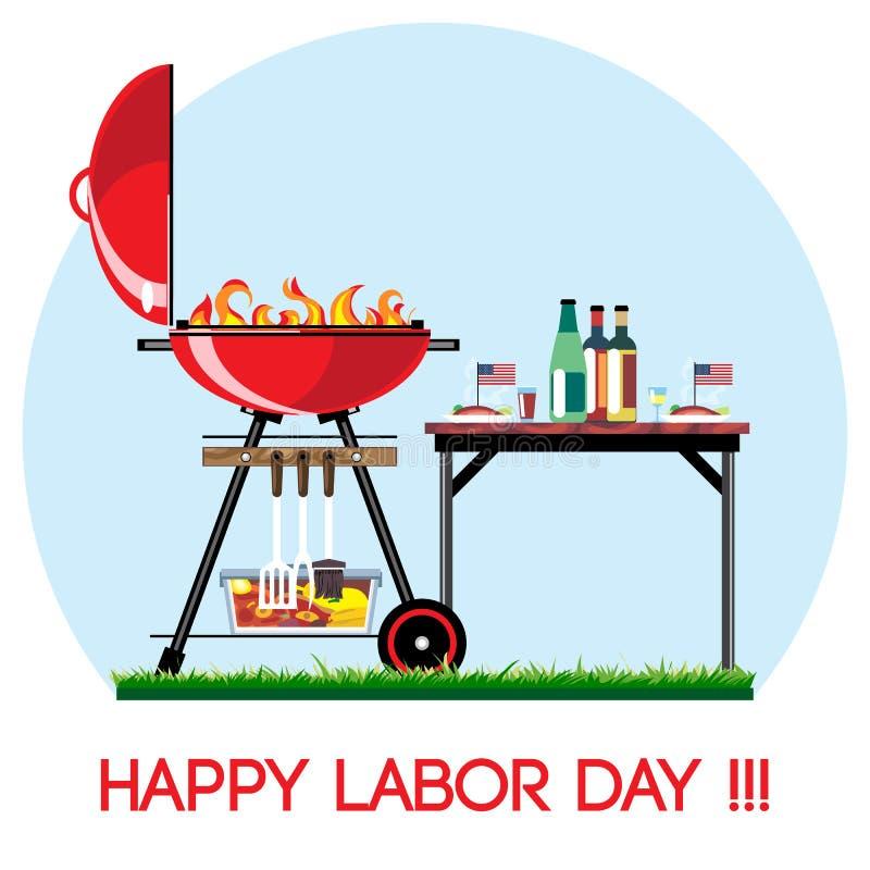 Sistema feliz del Bbq del Día del Trabajo stock de ilustración