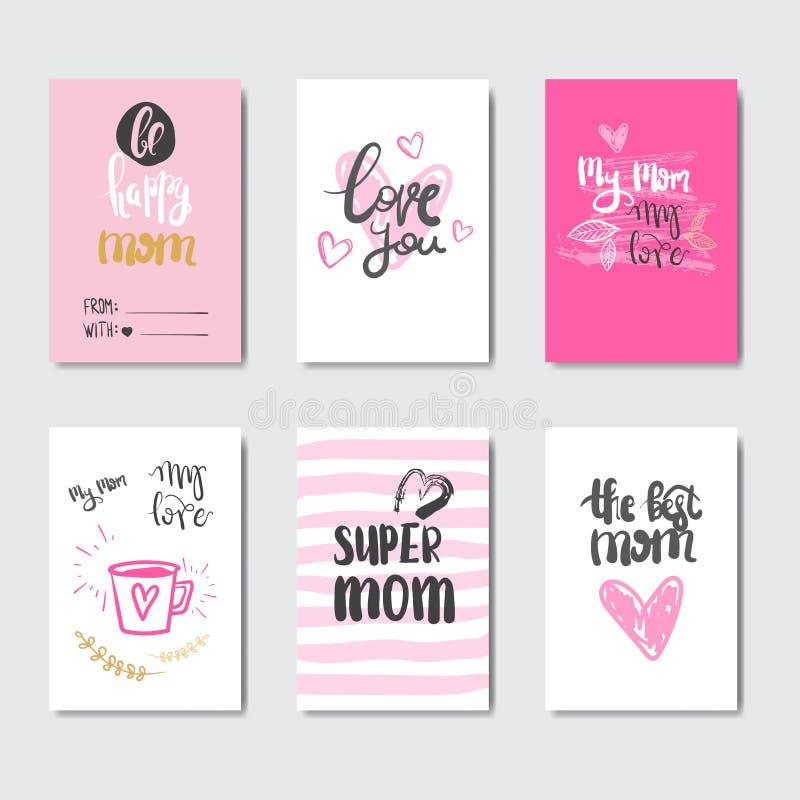Sistema feliz del día de la madre de tarjetas de felicitación adornadas con caligrafía linda de las letras ilustración del vector