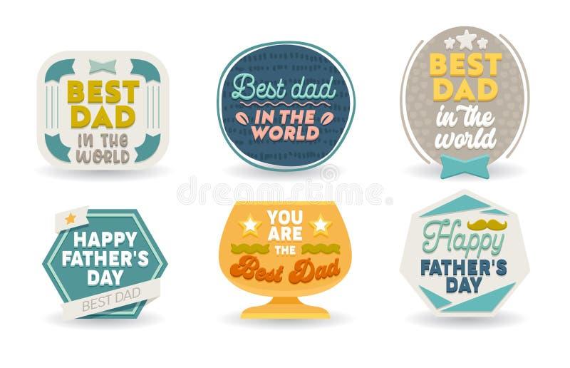 Sistema feliz del día de padres de emblemas, de etiquetas, de iconos y de muestras con la tipografía para las tarjetas de felicit libre illustration