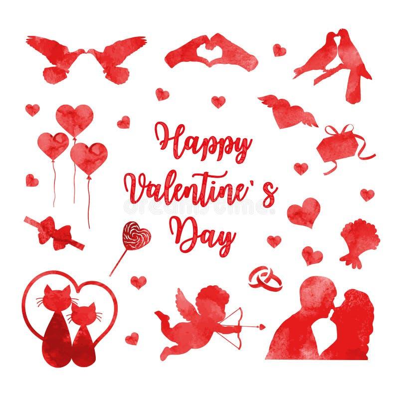 Sistema feliz del icono del día de tarjeta del día de San Valentín de siluetas de la acuarela Colección romántica linda del amor  ilustración del vector