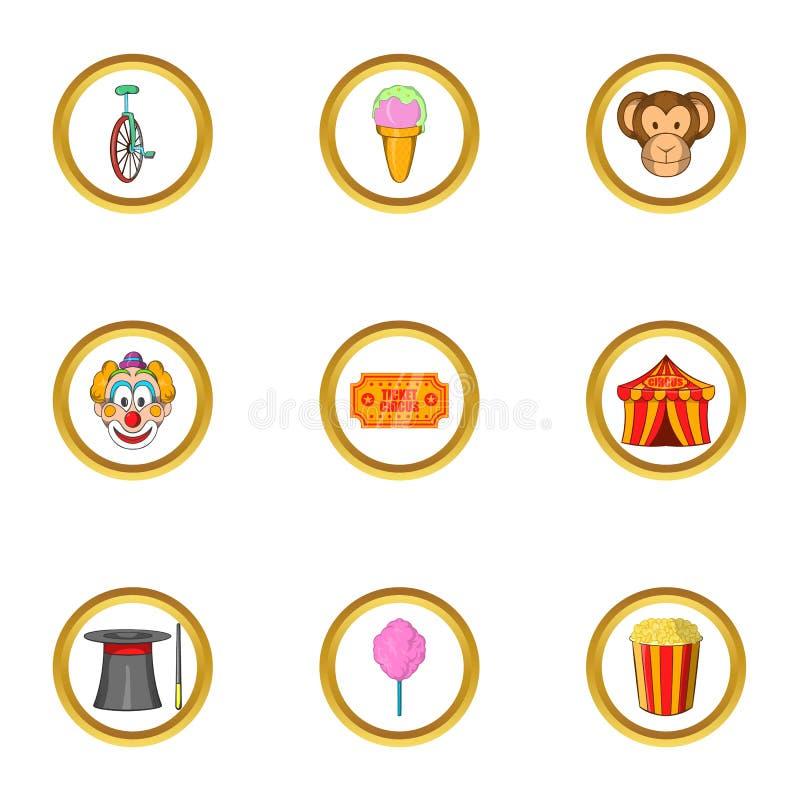 Sistema feliz del icono del circo, estilo de la historieta ilustración del vector