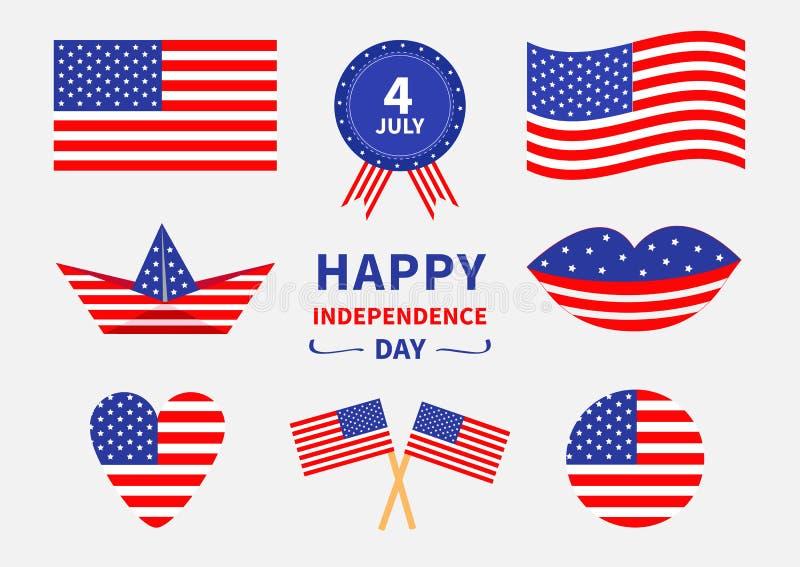 Sistema feliz del icono del Día de la Independencia Los Estados Unidos de América el 4 de julio Agitando, bandera americana cruza libre illustration
