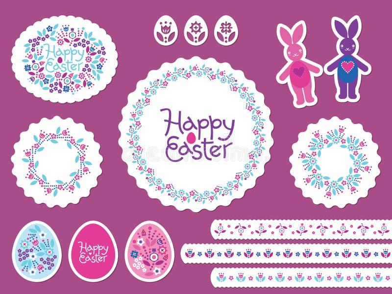 Sistema feliz del vector de Pascua con los huevos coloreados para la tarjeta de felicitación, anuncio, promoción, cartel, aviador ilustración del vector