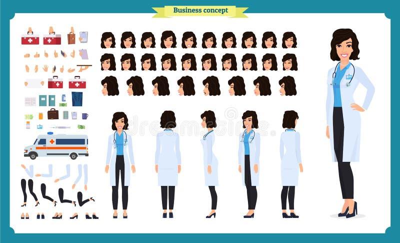 Sistema femenino de la creación del carácter del doctor Integral, distintas vistas, emociones, gestos Diseño aislado del vector P ilustración del vector