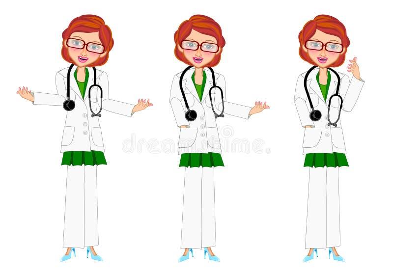 Sistema femenino de la presentación del doctor ilustración del vector