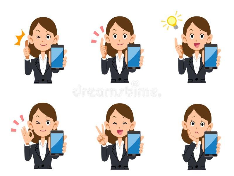 Sistema femenino del smartphone del oficinista de expresiones y de gestos stock de ilustración