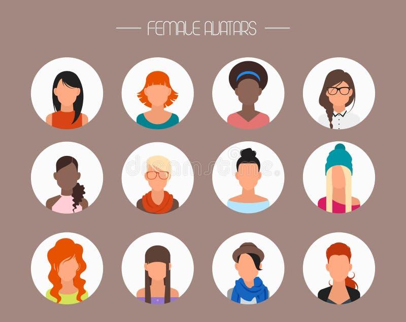 Sistema femenino del vector de los iconos del avatar Caracteres de la gente libre illustration
