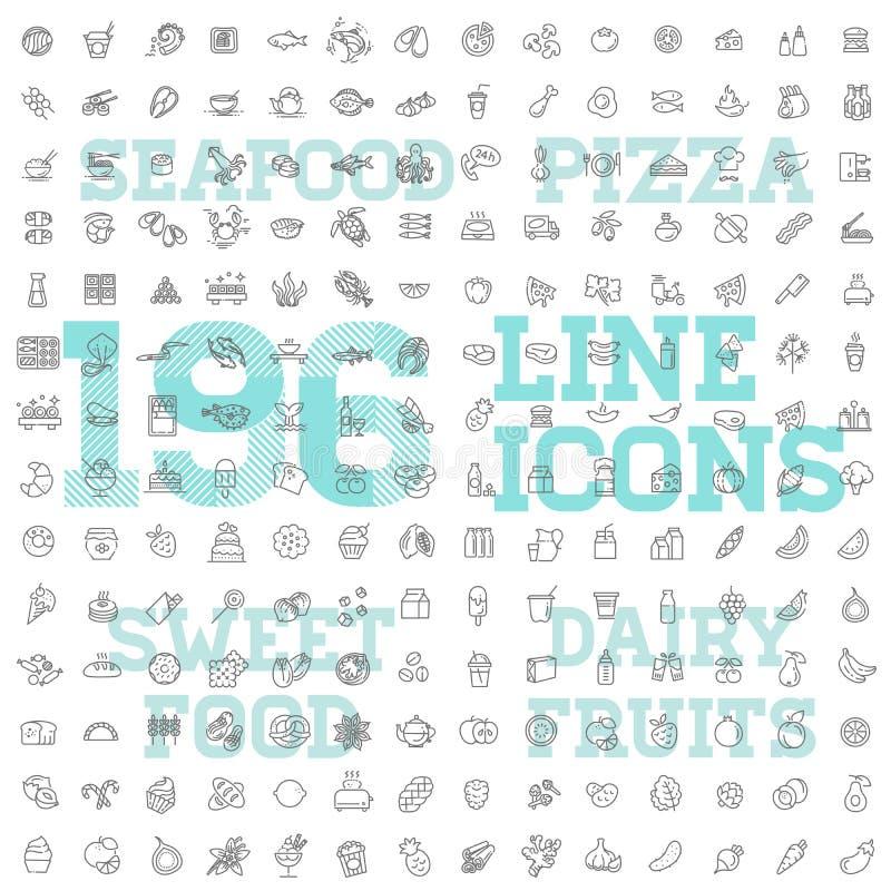 sistema fino del icono del vector de la comida 196 y de la bebida imágenes de archivo libres de regalías