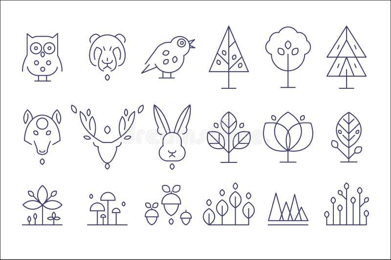 Sistema, flora y fauna, animales y plantas del bosque en un ejemplo linear del vector del estilo libre illustration