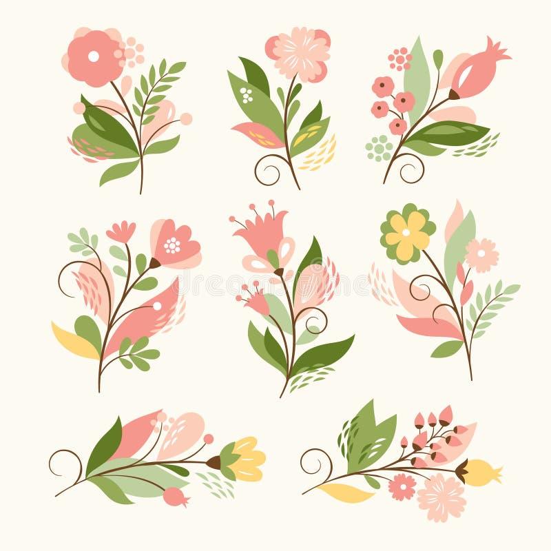 Sistema floral stock de ilustración