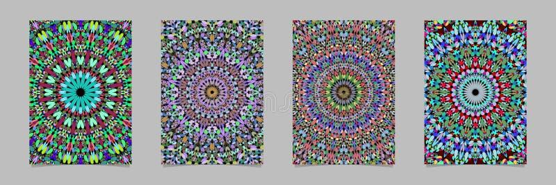 Sistema floral abstracto colorido del diseño del fondo del cartel del modelo de la mandala del mosaico ilustración del vector