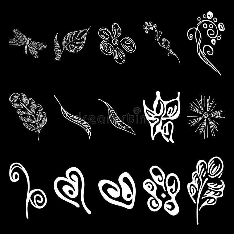 Sistema floral blanco del esquema de los elementos Elementos de la naturaleza L?nea ilustraci?n del arte Floral decorativo del el stock de ilustración