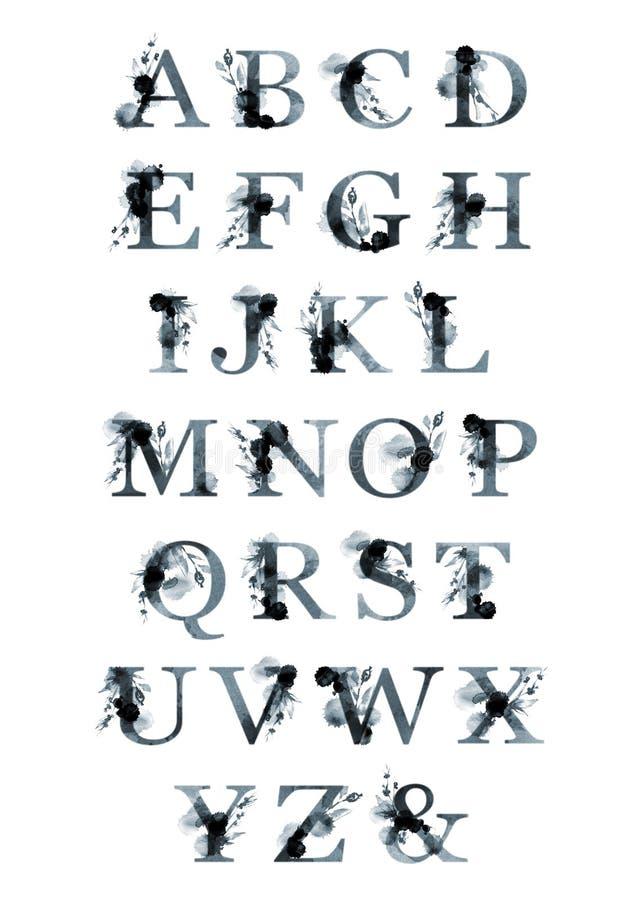 Sistema floral de la tipografía Mayúsculas del cartel del latín Letras, caracteres Fuente artística de la escritura de la acuarel stock de ilustración