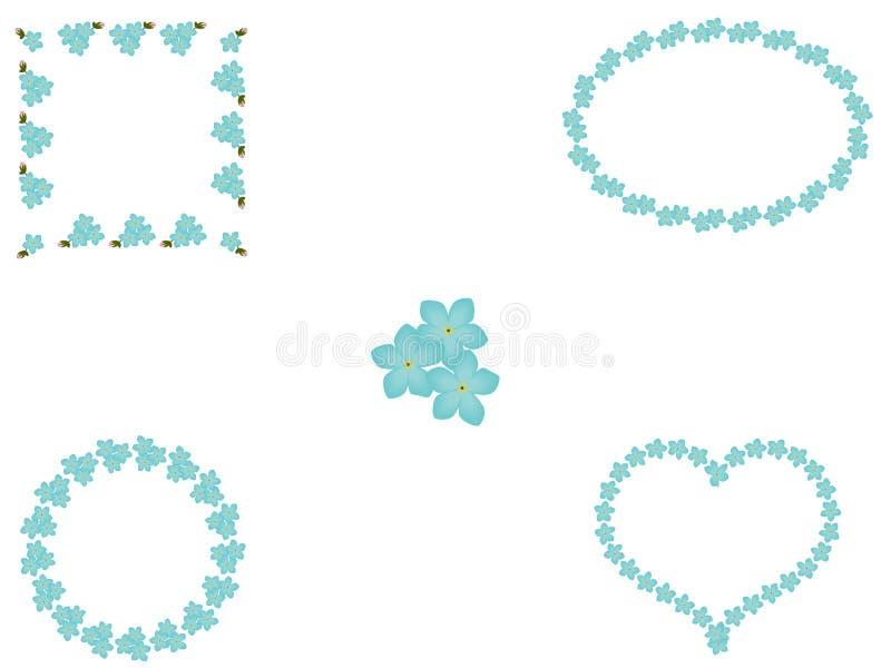 Sistema floral del bastidor azul de la nomeolvides, vector, EPS 10 ilustración del vector