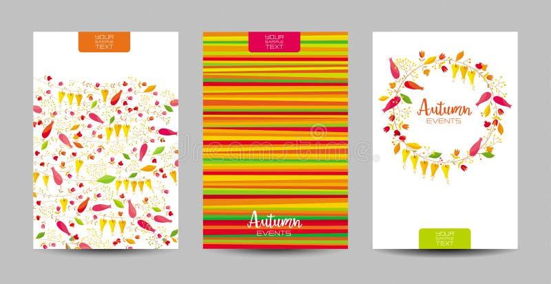 Sistema floral del fondo del otoño ilustración del vector