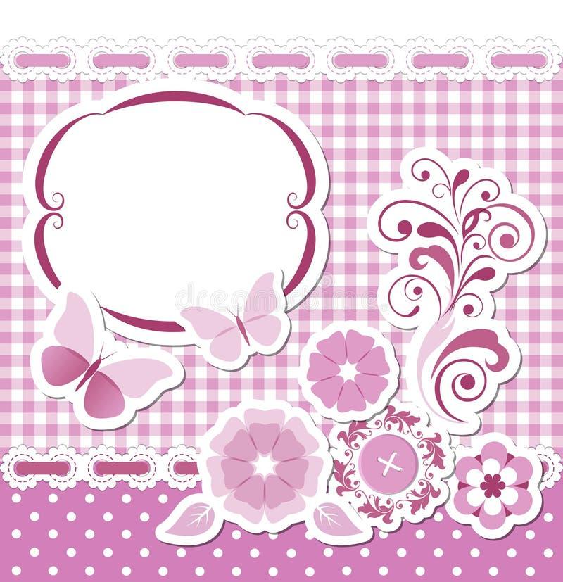 Sistema floral del rosa del libro de recuerdos stock de ilustración