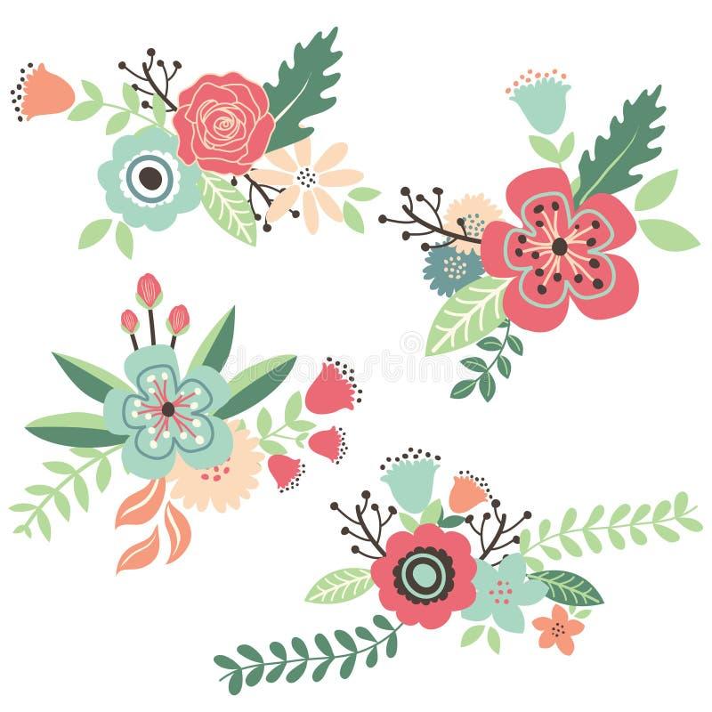 Sistema floral del vintage del drenaje de la mano stock de ilustración