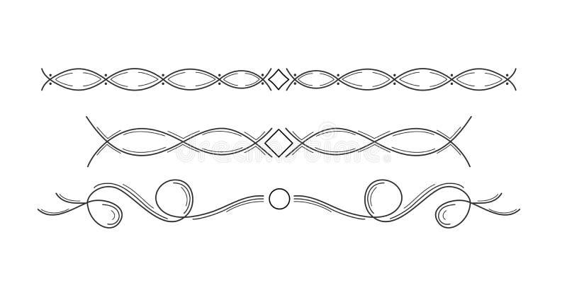 Sistema floral exhausto de las fronteras de la mano Elementos decorativos, ilustración del vector