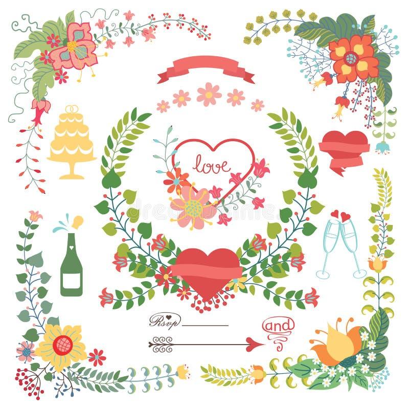 Sistema floral lindo con los elementos de la boda stock de ilustración