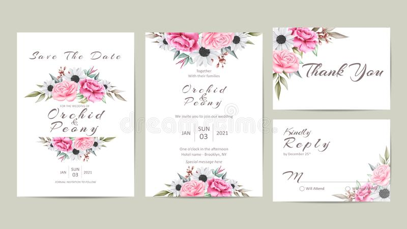 Sistema floral lindo de la invitación que se casa de flores de la acuarela y de hojas salvajes libre illustration