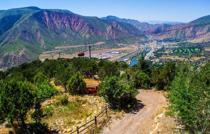Sistema fluvial de la tranvía de la montaña de Glenwood Springs Colorado foto de archivo