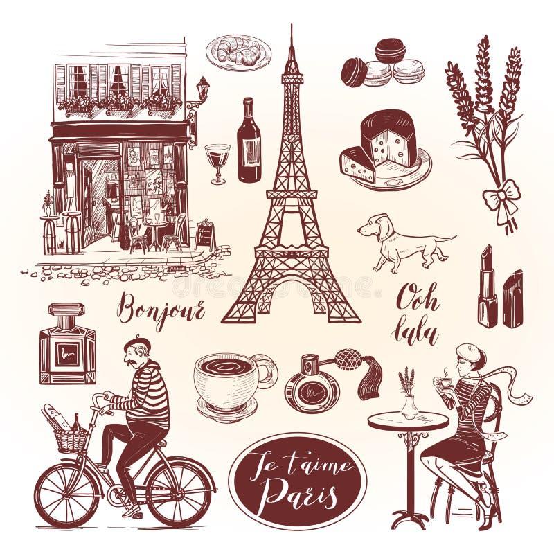 Sistema francés del vintage con las letras y el símbolo de París en estilo del bosquejo ilustración del vector