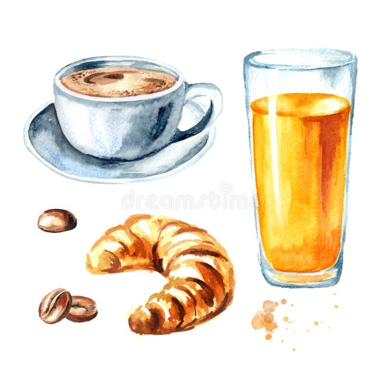 Sistema francés tradicional del desayuno de la mañana Cruasán, zumo de naranja, taza de café, granos de café watercolor stock de ilustración