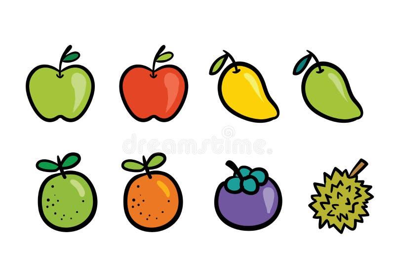 Sistema fresco de la colección del dibujo de la fruta del verano stock de ilustración